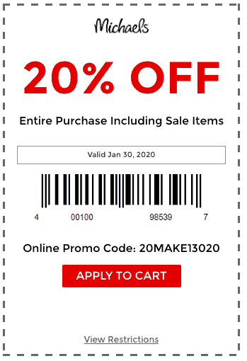 michaels coupon 20 off entire puchase