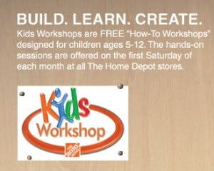 home depot kids workshop 300x240 Home Depot Free Kids Workshop March 2012