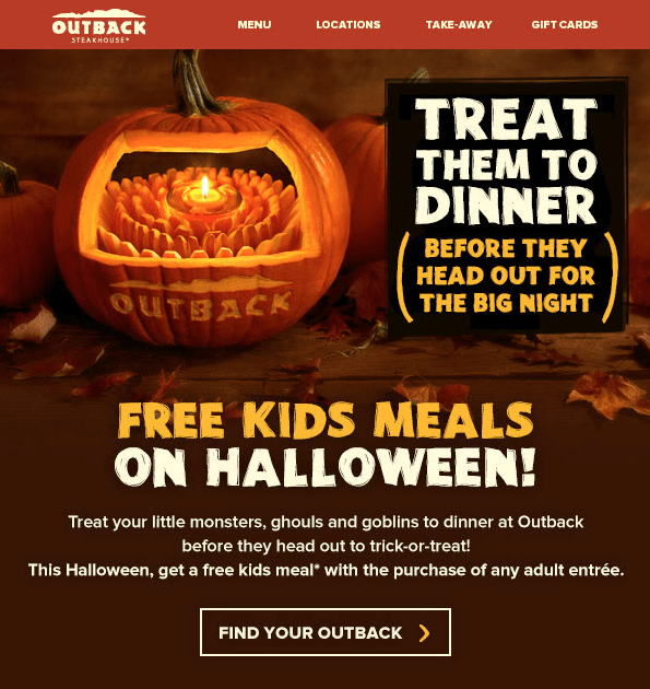 Outback Free Steak! Kids Eat Free at Outback on Halloween