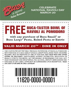 Buca eBlast RavioliDay WebCoupon 480px 2013 2 240x300 Buca di Beppo Coupon Free Ravioli on March 20, 2013