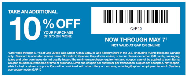 gap outlet printable coupon may 2013 Gap Outlet Printable Coupon May 2013