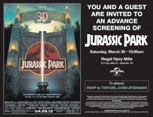 free jurassic park 3d movie premiere tickets for nashville. Black Bedroom Furniture Sets. Home Design Ideas
