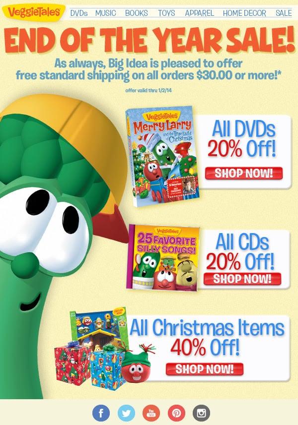 VeggieTales Discount Sale December 2013- 20-40% off