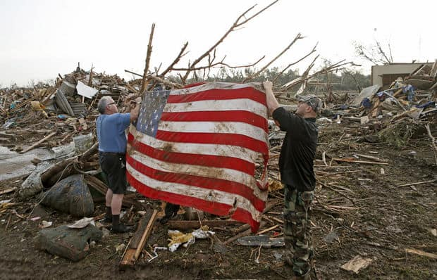 Moore Oklahoma Tornado picture American Flag