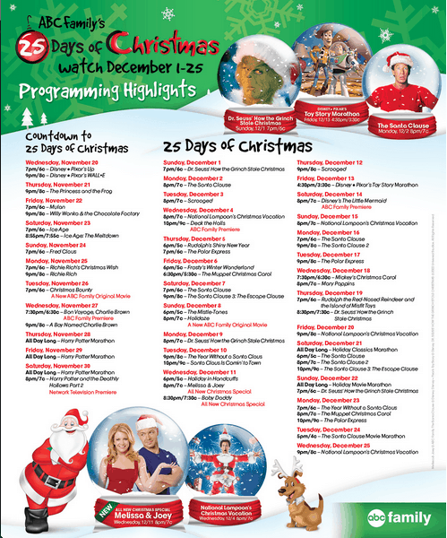 ABC Family 25 Days of Christmas TV Schedule 2013