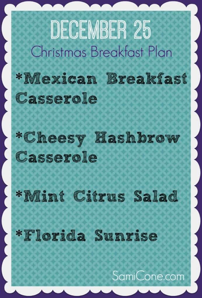 free christmas breakfast menu