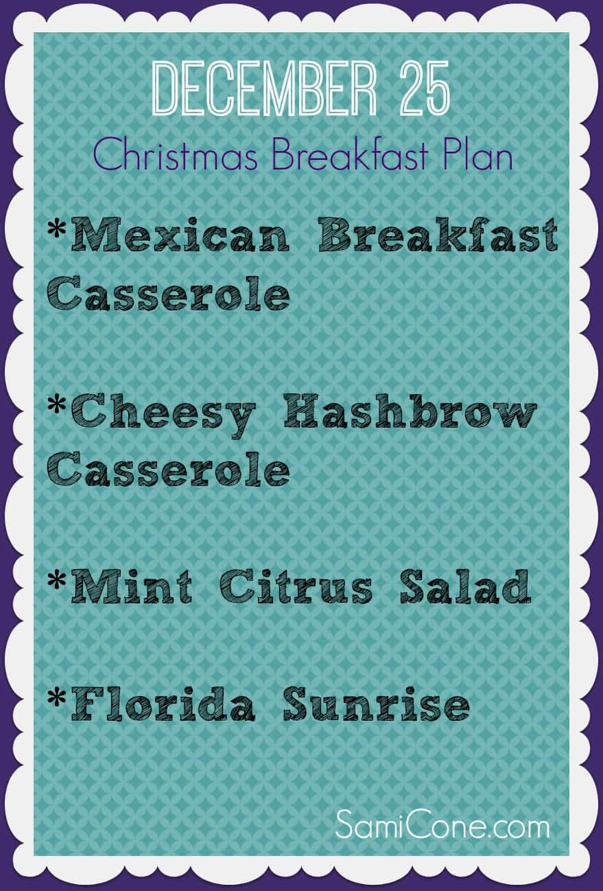 free christmas breakfast menu
