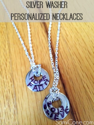 silver washer personalized necklaces