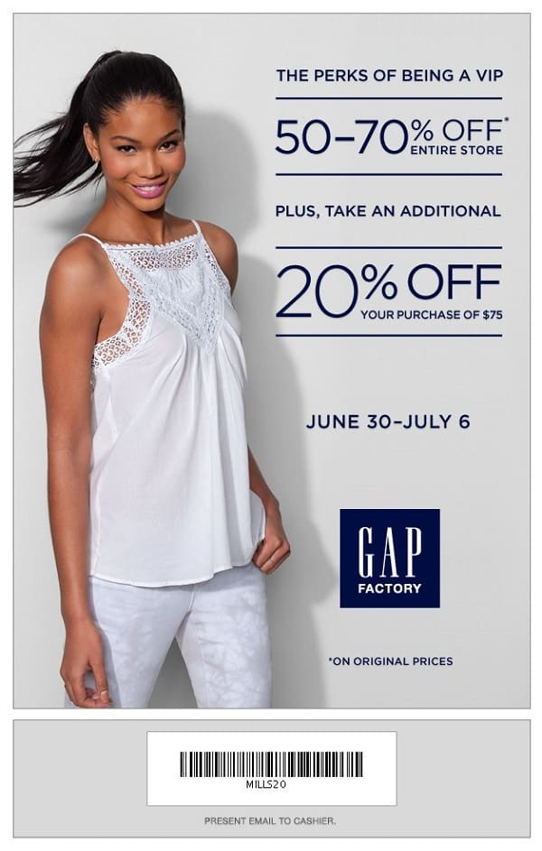 Gap Factory Outlet Printable Coupon