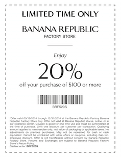 Banana Republic Factory Coupons, Sales & Promo Codes. For Banana Republic Factory coupon codes and deals, just follow this link to the website to browse their current offerings.