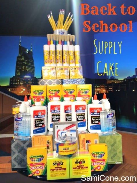 back to school supply cake - stacked tower with school supplies
