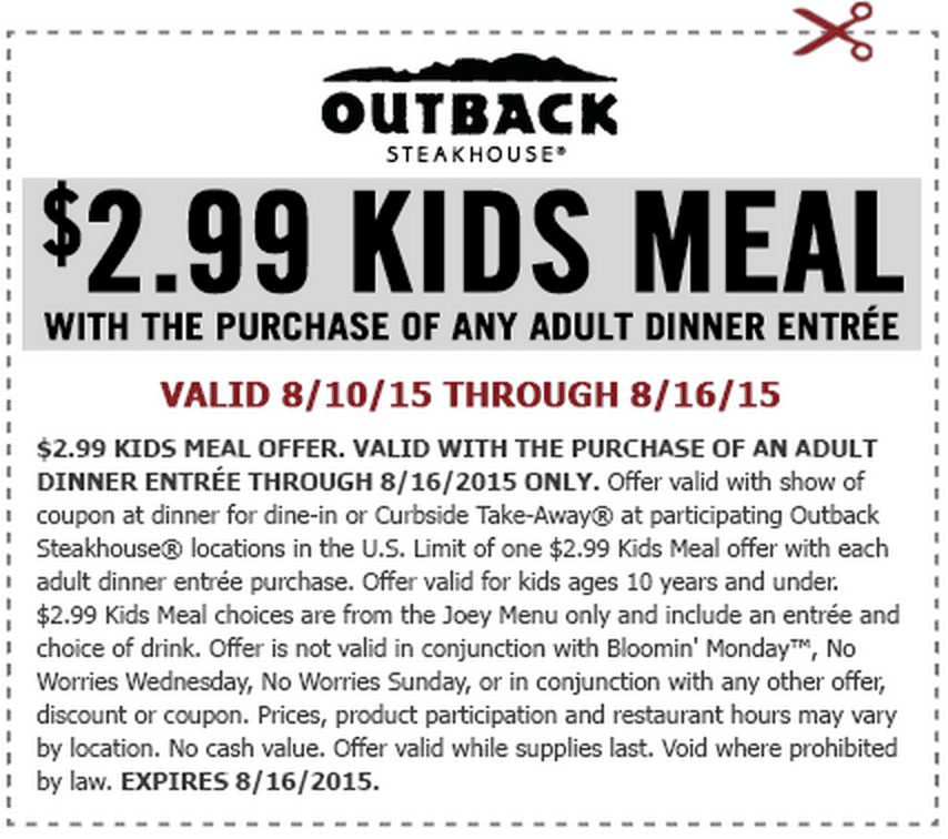 Free Outback Kids Meal August 2015