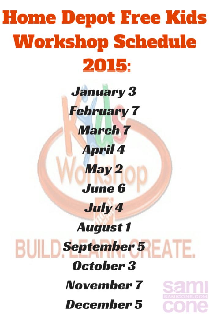 Home Depot Free Kids Workshop Schedule