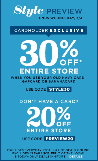 Old Navy Discount Code March 2015