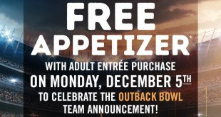 Free Outback Appetizer December 5, 2016