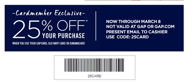 Gap Outlet Printable Coupon  February 2015
