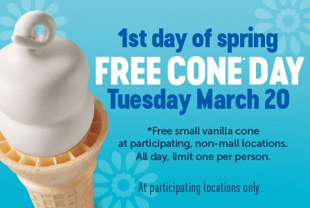 Dairy Queen Free Cone Day March 20, 2018