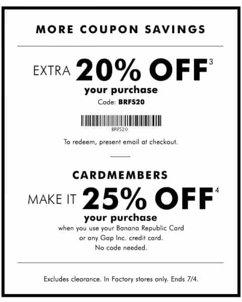 Banana republic coupon outlet printable