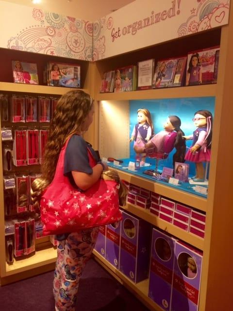 american girl store bag display