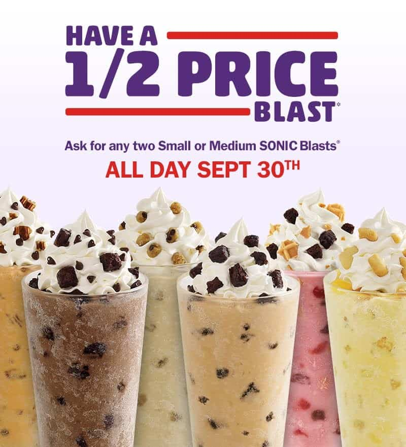 Sonic Half Price Blast Deal September 30