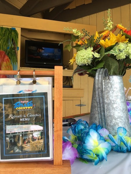 Dollywood's Splash Country retreat menu
