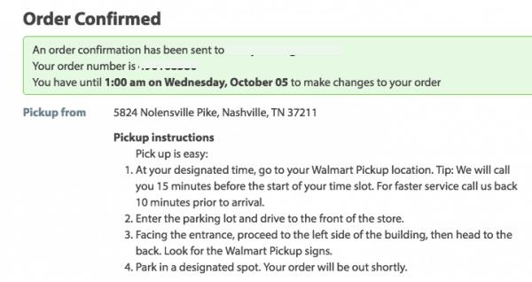 walmart online grocery order confirmed