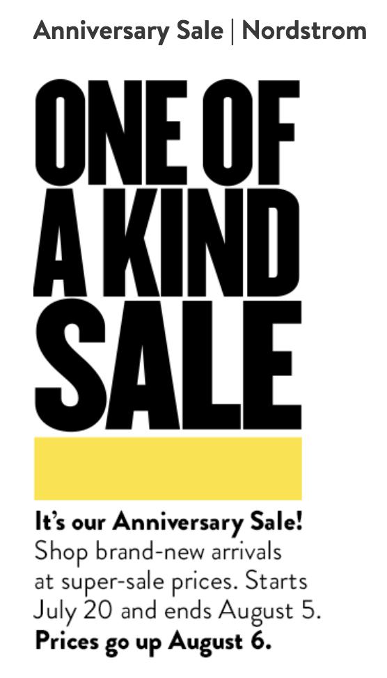 Nordstrom anniversary sale dates in Sydney