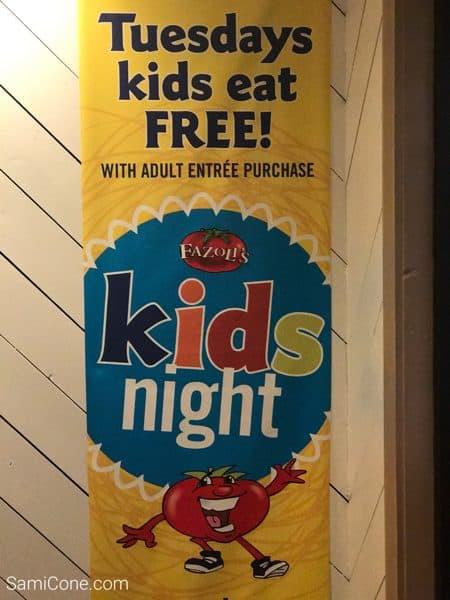 Fazolis Kids Eat Free