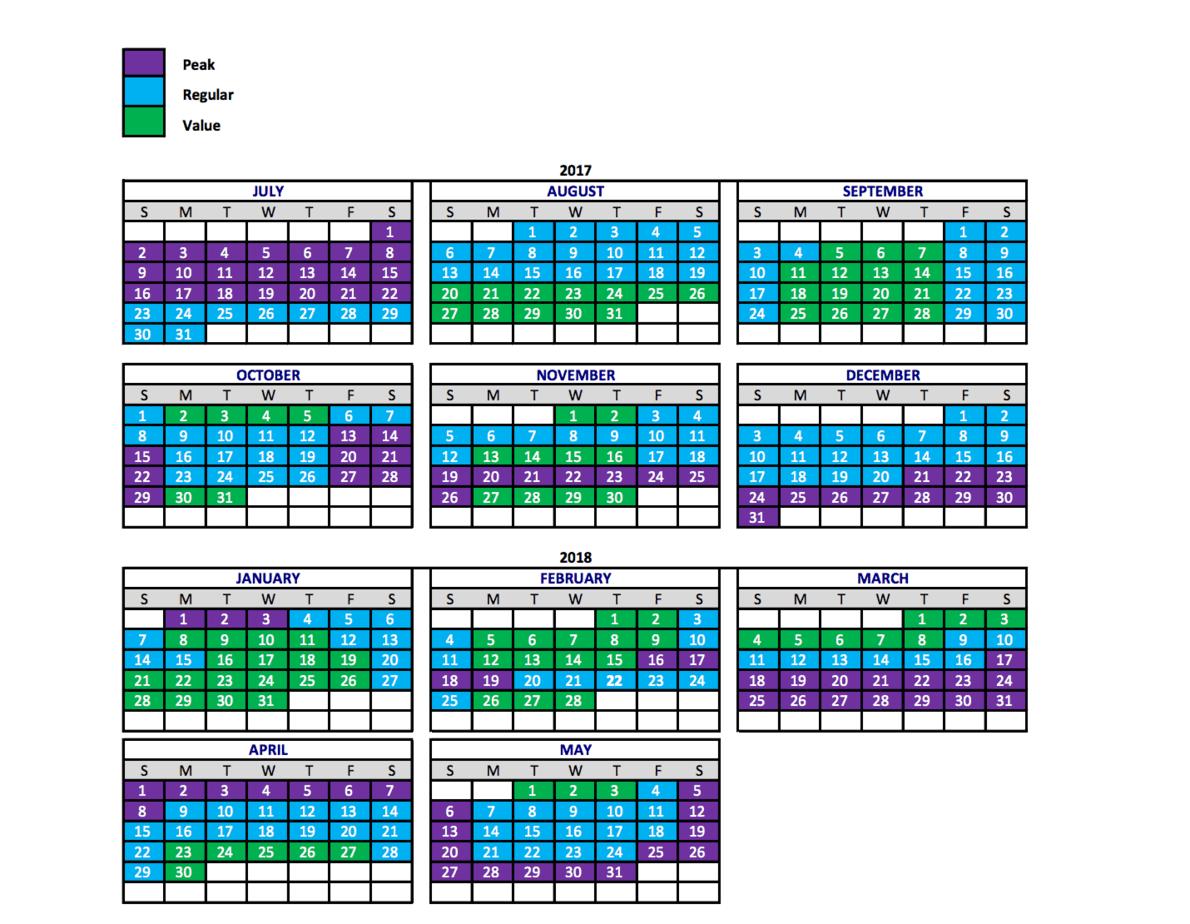 Disney Ticket Calendar Pricing 2017-18