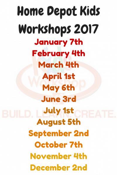 Home Depot Kids Workshops 2017