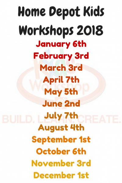Home Depot Kids Workshops 2018