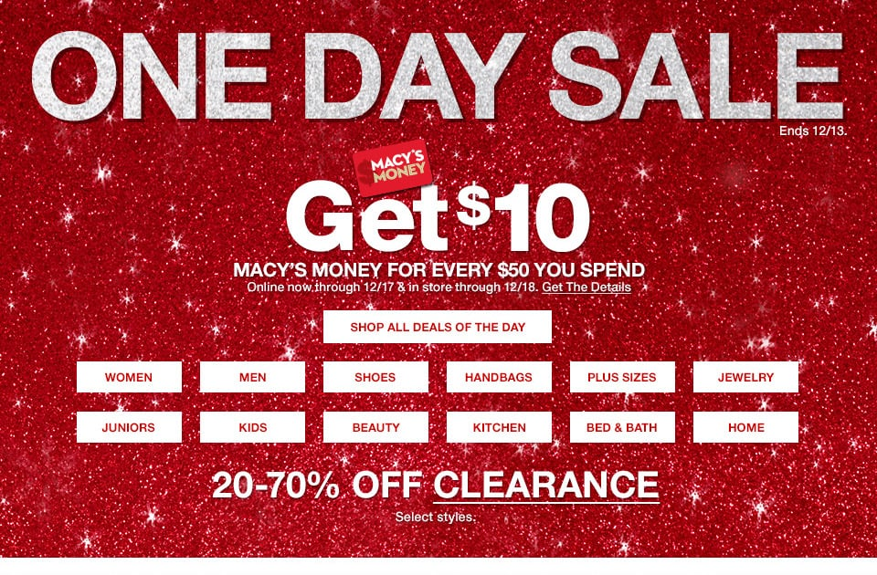 Macy's One Day Sale December 2017