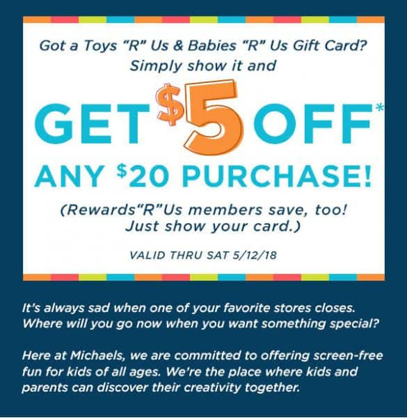 How to Save $5 at Michael's with a Toys R Us Gift Card
