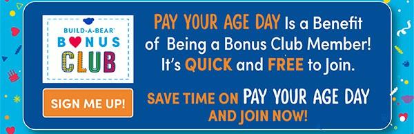 Build-a-Bear Pay Your Age Sale