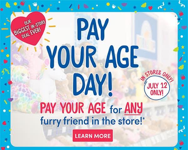 Build a Bear Pay Your Age Sale