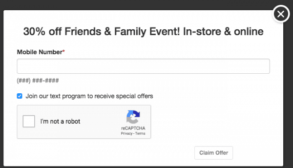 payless friends and family text coupon