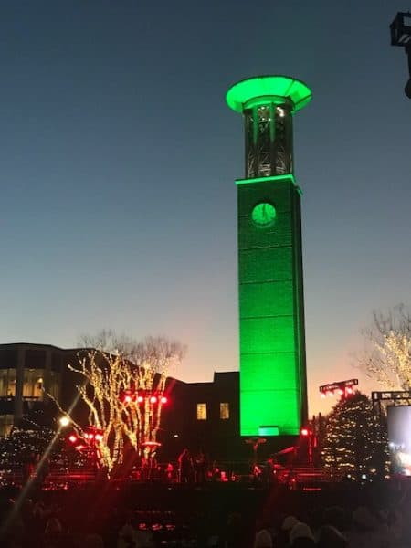 lighting of the green 2018 bell tower