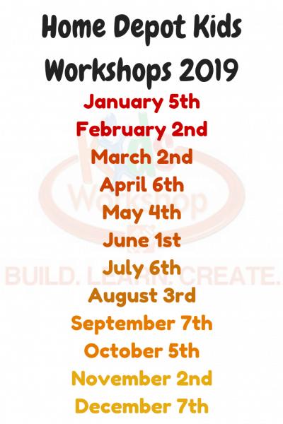 Home Depot Free Kids Workshop 2019 Schedule Kids Freebies