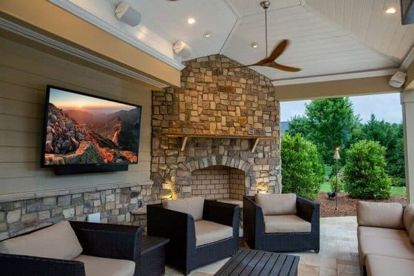 sunbrite TV Verdana outdoor living space with fireplace