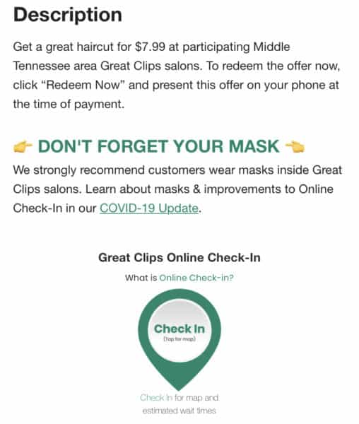 Great Clips coupon details 2020