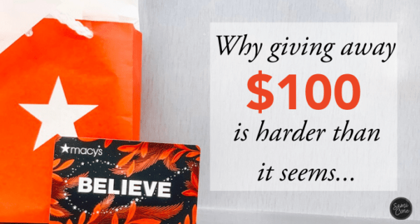 Giving Away $100 harder than it seems