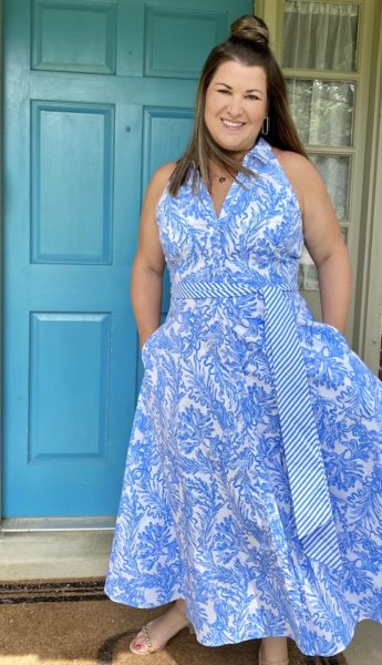 Lilly Pulitzer blue collar maxi dress The Sami Cone Show August 2020