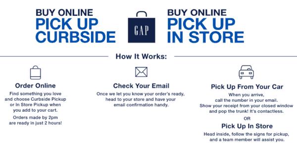 Gap buy online pick up curbside in store