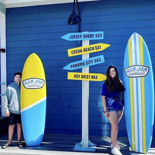 Ron Jon Surf Shop Myrtle Beach surf boards at Barefoot Landing Cone kids