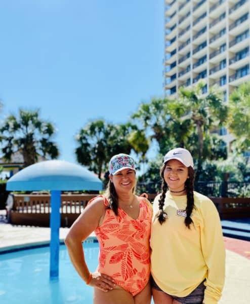 Sami and Kariss at Beach Cove Resort pool in North Myrtle Beach