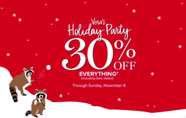 vera bradley holiday party 30% off everything