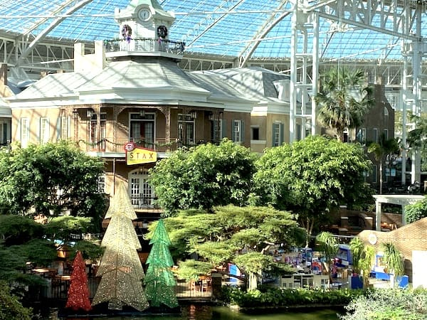Opryland Waters Edge Stax with Christmas Trees from Delta Flatboat ride.