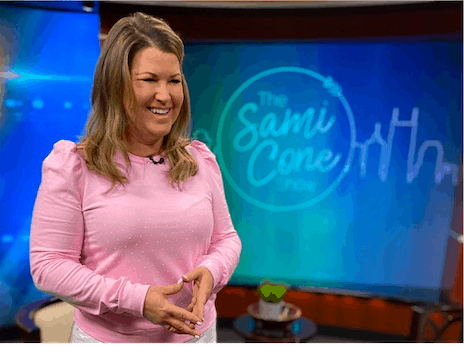 Lilly Pulitzer Jansen Pearl sweatshirt in pink from The Sami Cone Show February 2021