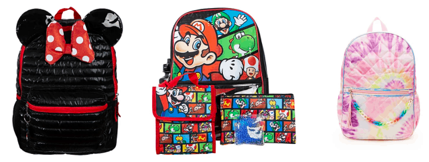 Macys back to school backpacks for 2021, Minnie Mouse and tie-dye styles.